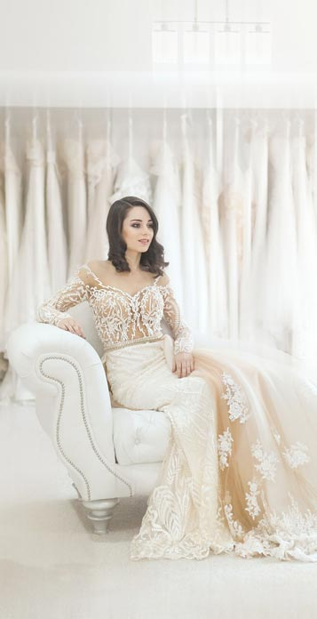 Bride in a bridalwear shop