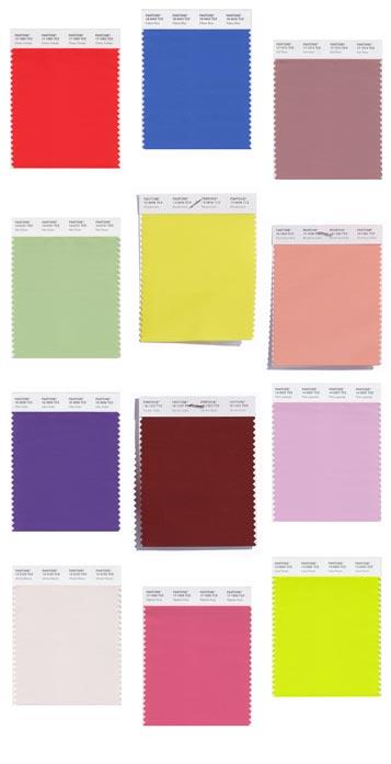Pantone's Spring 2018 Colour Palette (colours l-r)