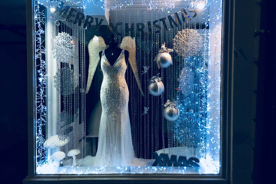 Blue and Silver Display - I Do Bridal Boutique