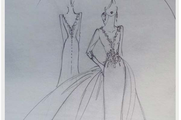 Stephanie Allin Sketches a Dress Design for Meghan Markle