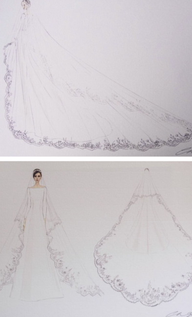 Official sketches of the Duchess of Sussex's dress and veil, by Clare Waight Keller