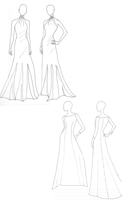 The simplicity and elegance that we loved from Meghan's dresses is evident in these early sketches