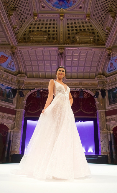 Model on the runway at The Harrogate Bridal Show