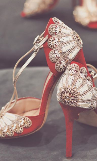 Emmy Scarterfield's red embellished shoe design