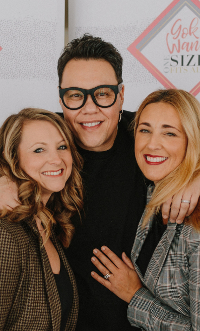 Gok Wan with Abi Neill and Sarah Twinn of Abigail's Collection