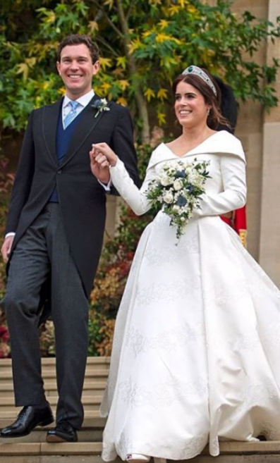 Princess Eugenie and Jack on their wedding day. Image taken from Royal Family Instagram feed