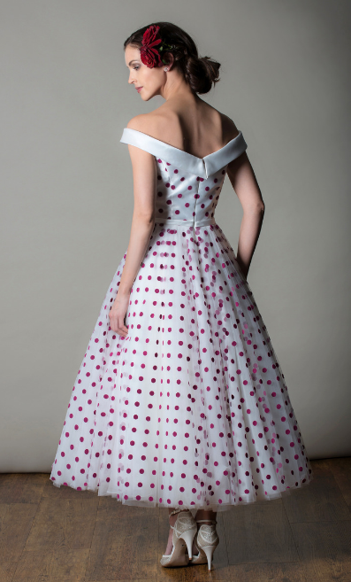 Rita Mae's polka dot short wedding dress
