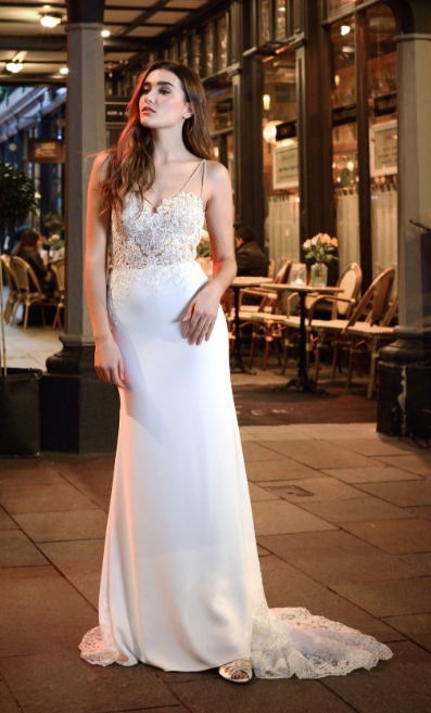 Catherine Parry's Monica wedding dress from front