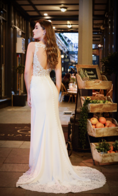 Catherine Parry's Monica wedding dress from back