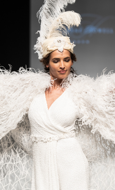 Model wearing Eliza Jane Howell on the London Bridal Fashion Week 2018 runway