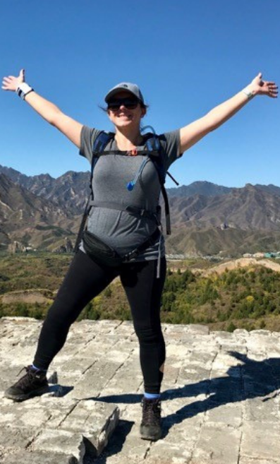 Wendy Mills from True Bride trekking on The Great Wall of China